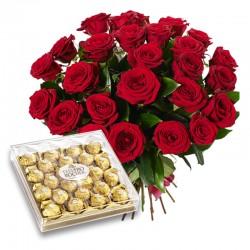 Bukiet 25 Czerwonych Róż i...